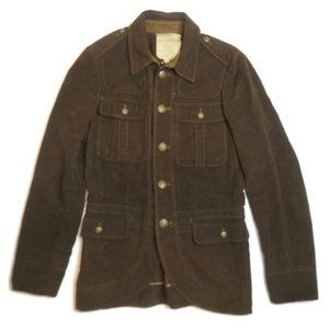 Ralph Lauren Rugby Rowena Moleskin Military Buttoned Collared Jacket Brown 8